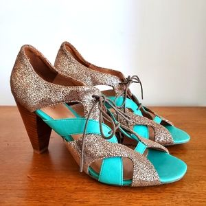 ALDO Turquoise & Sparkle Tan Cuban Heel Open Toe